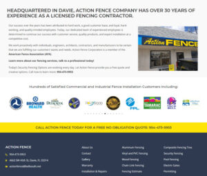 Example of Search Engine Optimzed website for Fencing Contractors